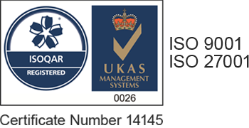 ISO 9001 and 27001, ISOQAR Registered, UKAS Management Systems 0026, Certificate Number 14145